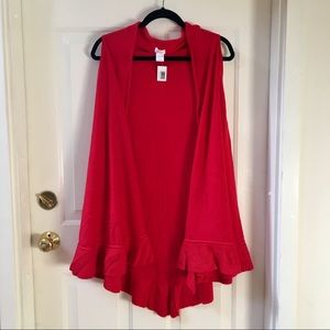 Sweaters - NEW Red Ruffled Duster Vest